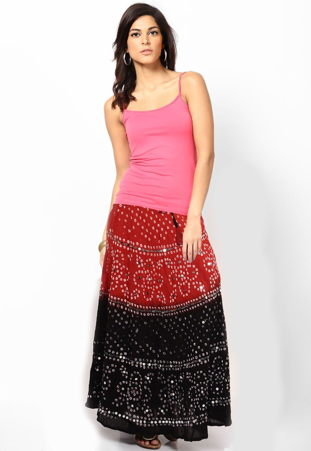 Embroidered Cotton Long Skirt In Red and Black