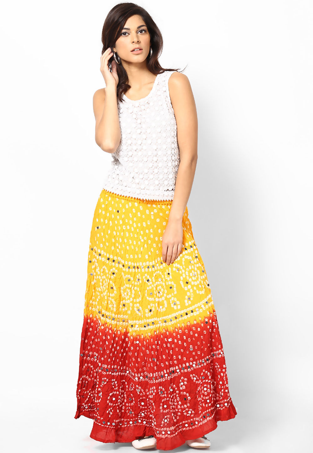 Embroidered Cotton Long Skirt In Yellow and Red