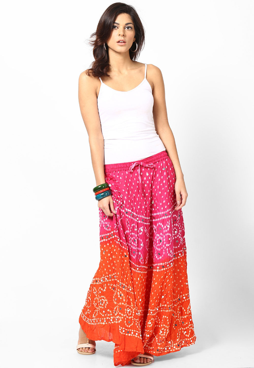 Embroidered Cotton Long Skirt In Pink and Orange