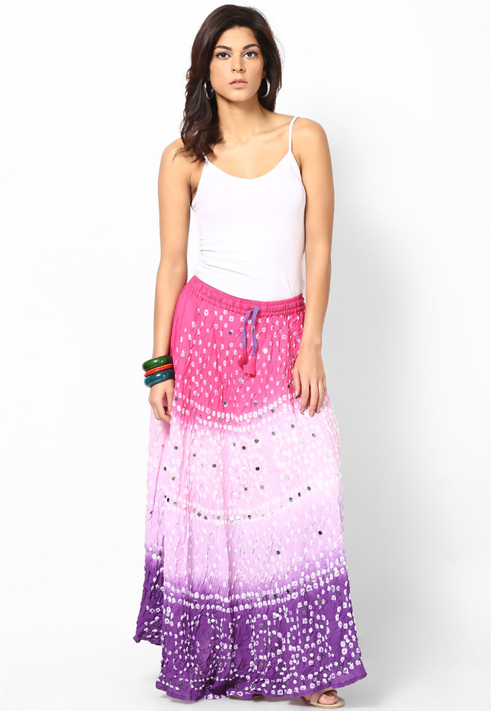Embroidered Cotton Long Skirt In Pink and Purple