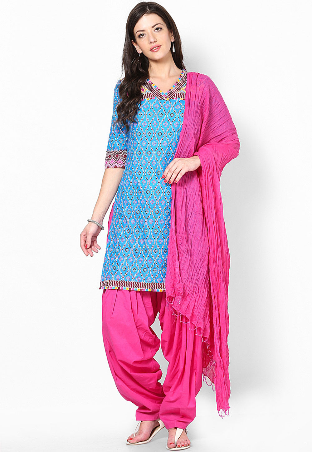 Cotton Patiala with Dupatta in Fuchsia