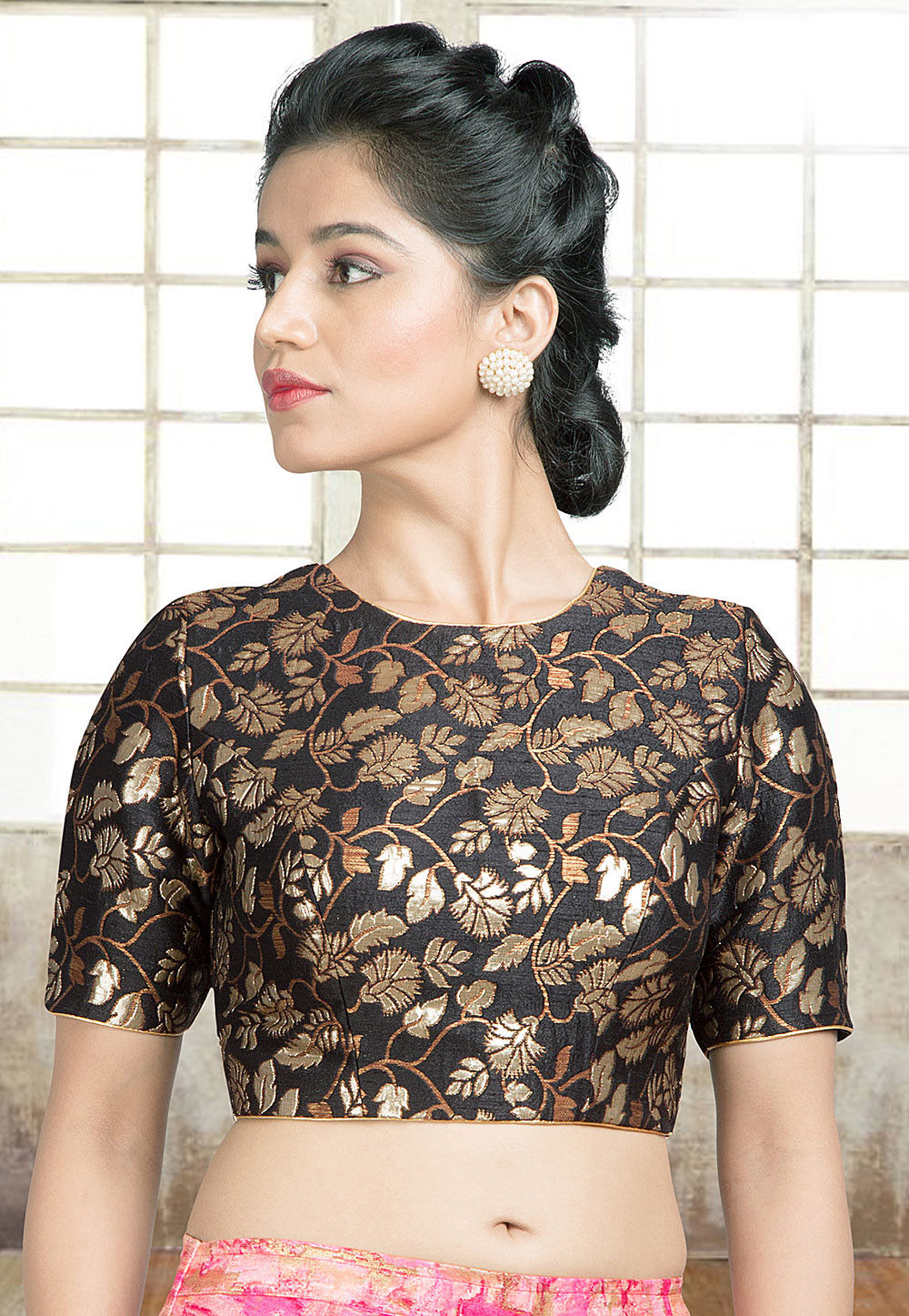 58dcc757a233be ... Brocade Blouse in Black. Zoom