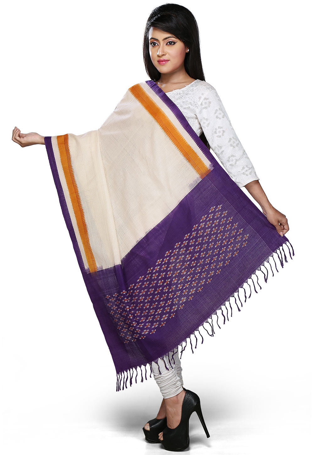 Handloom Cotton Dupatta In Violet and Off White