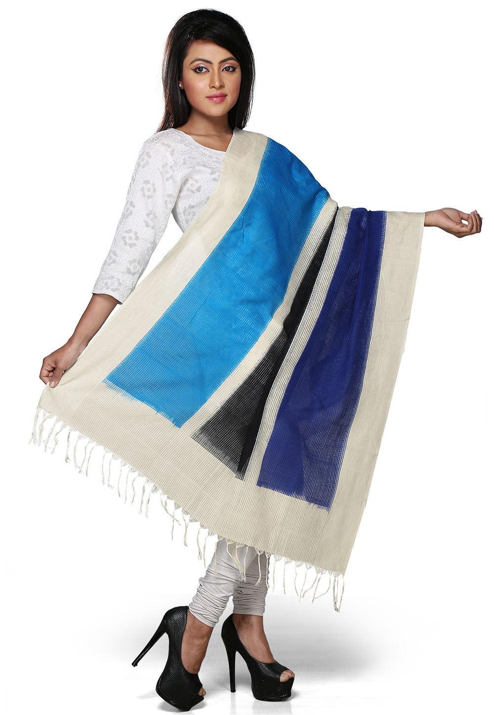 Handloom Cotton Dupatta In Multicolor