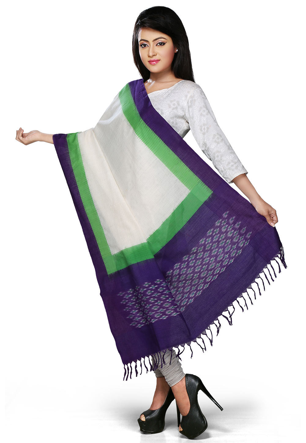Handloom Cotton Dupatta In Purple and Off White