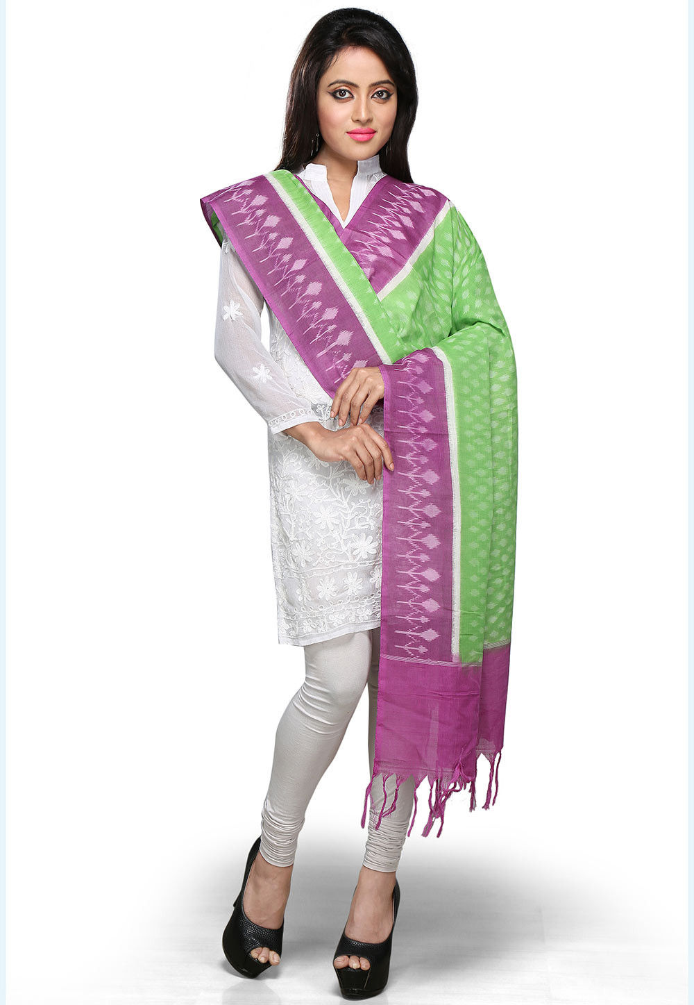 Handloom Cotton Dupatta In Purple and Green