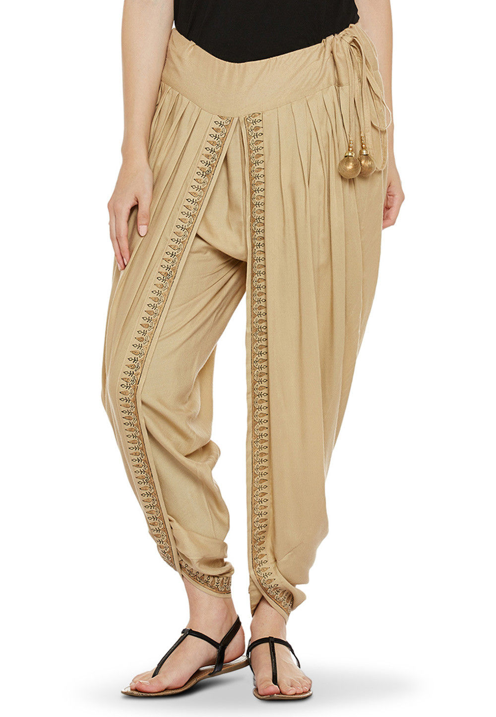 Block Printed Cotton Viscose Dhoti in Beige