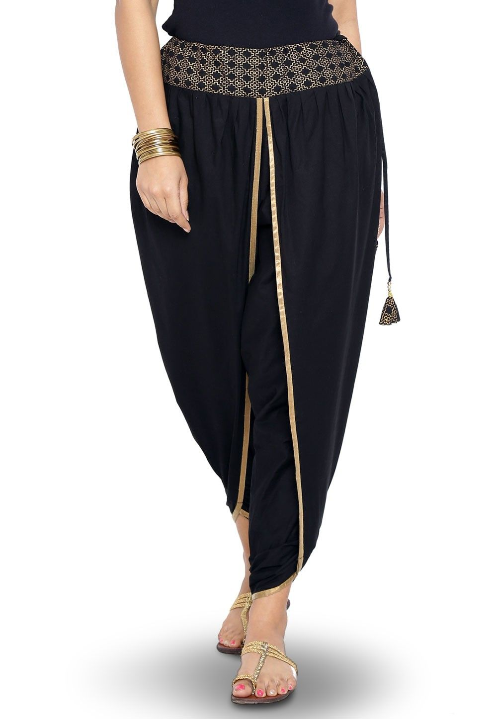 Foil printed Cotton Dhoti Pant in Black