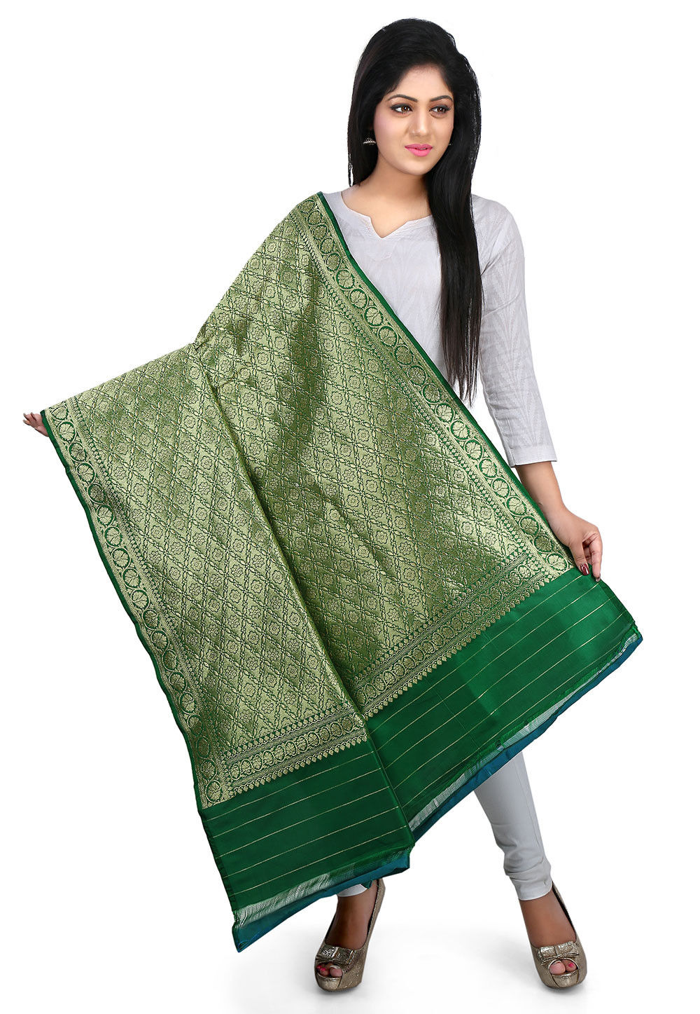 Woven Art Silk Dupatta in Green