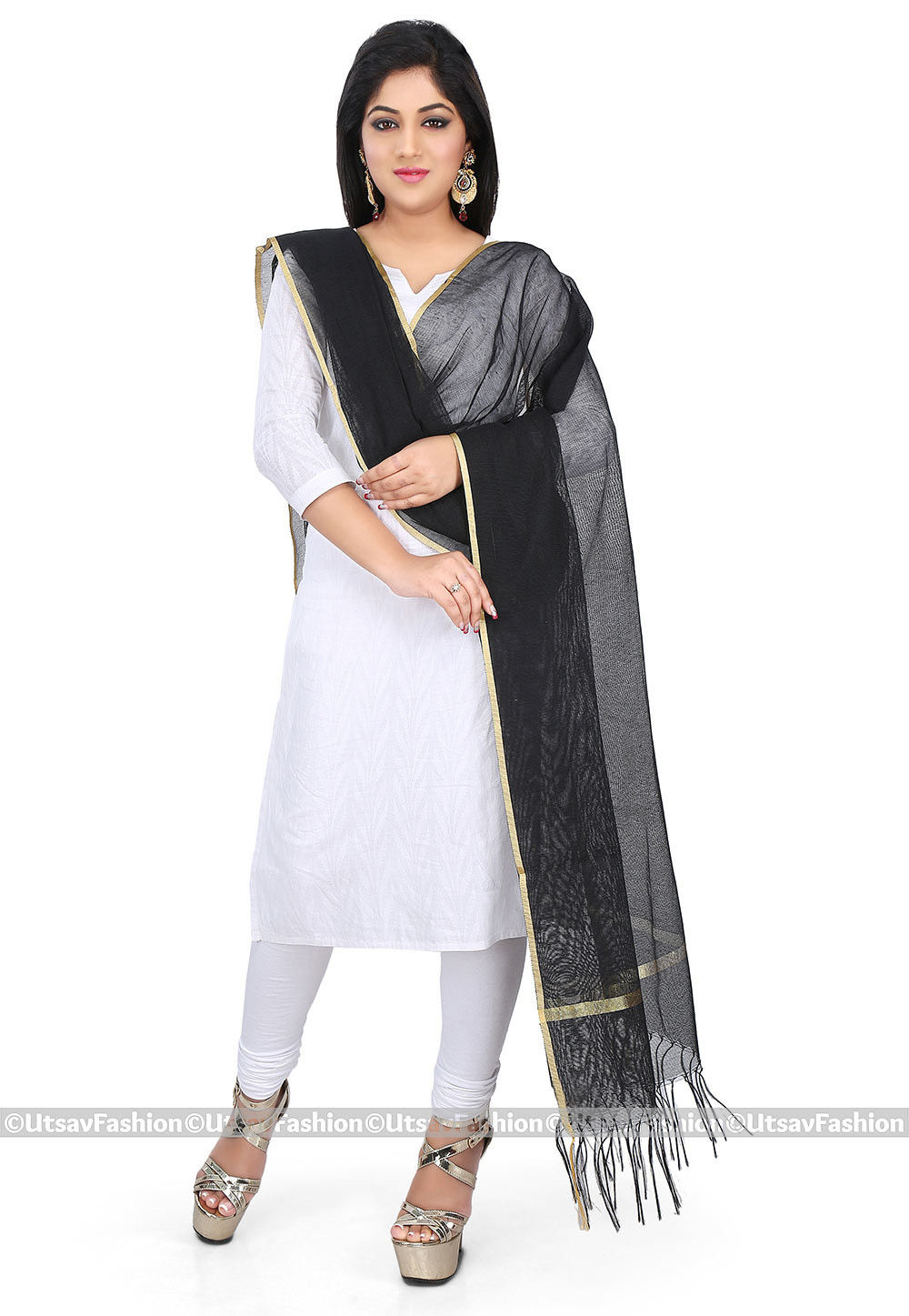 Woven Border Noil Dupatta in Black