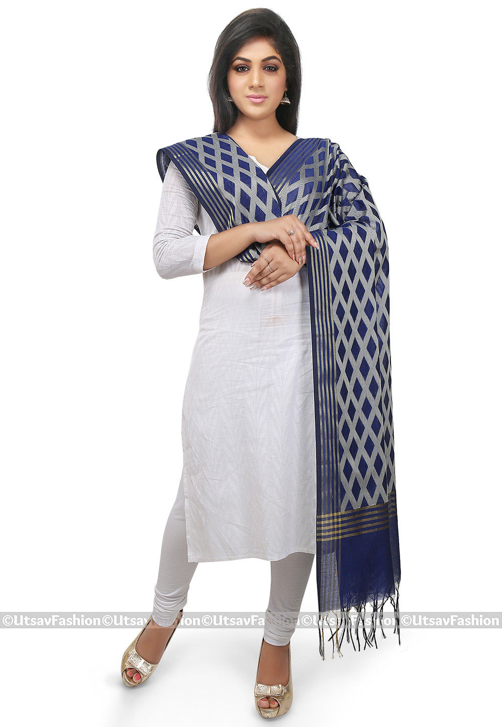 Woven Cotton Silk Dupatta in Dark Blue