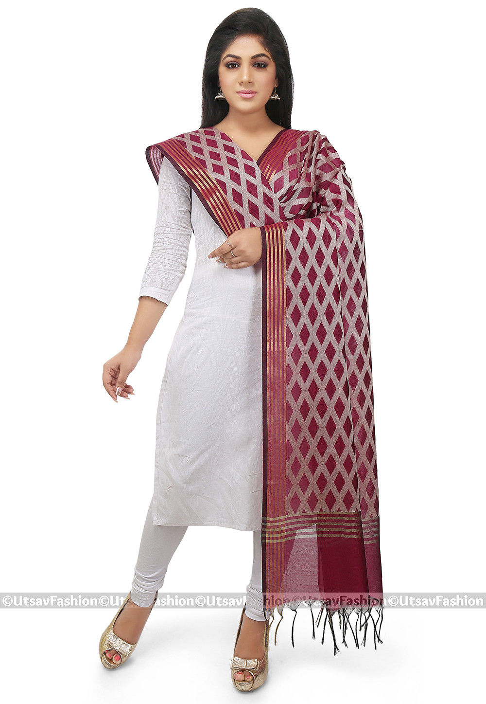 Woven Cotton Silk Dupatta in Wine