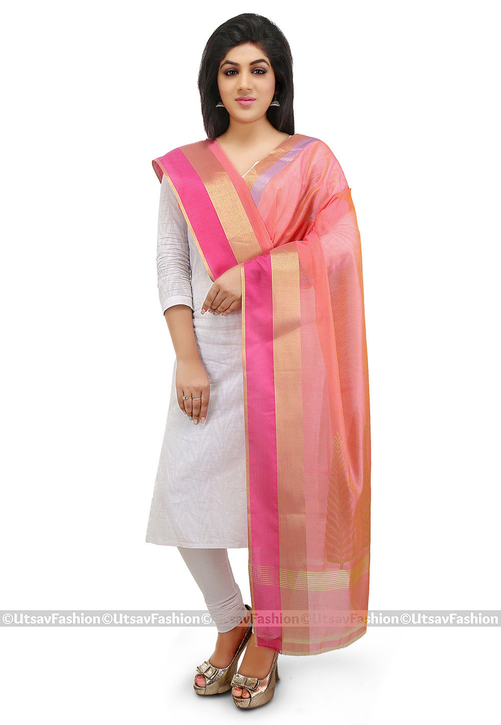 Woven Chanderi Silk Dupatta in Peach