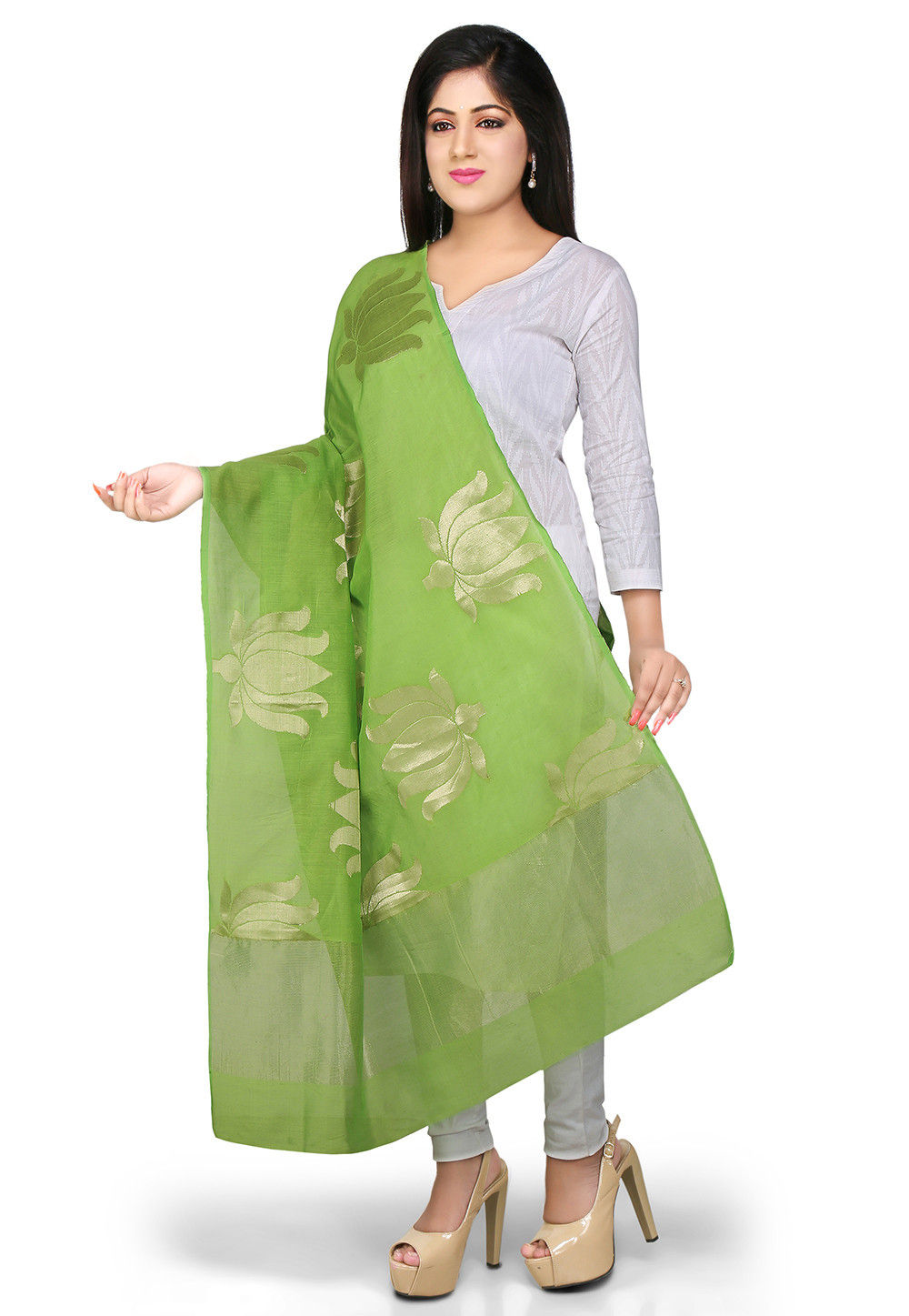 Handloom Cotton Silk Dupatta in Green