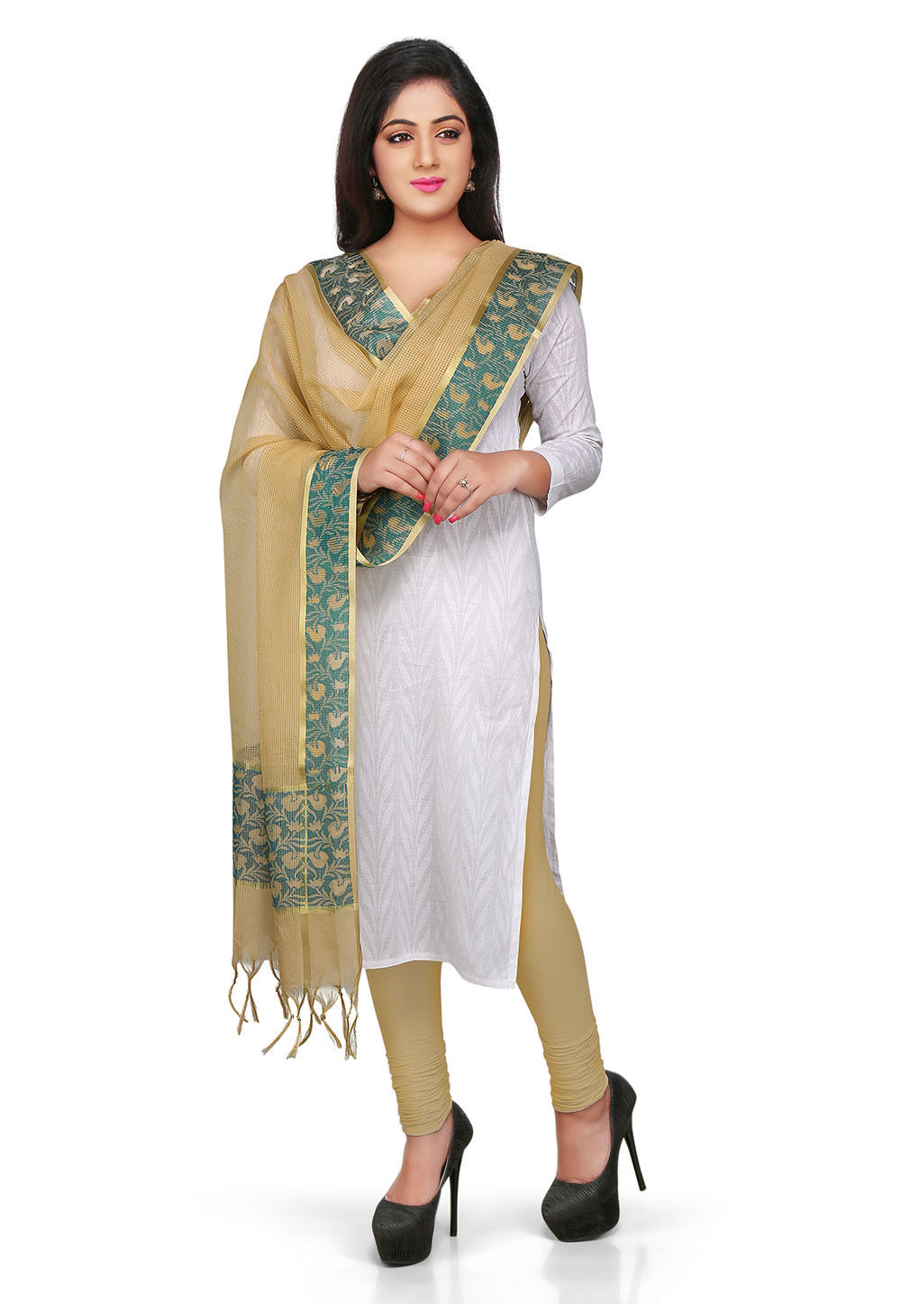 Handloom Kota Art Silk Dupatta in Beige
