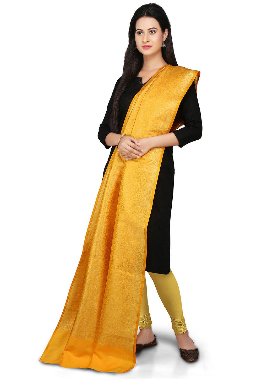 Handloom Art silk Dupatta in Mustard