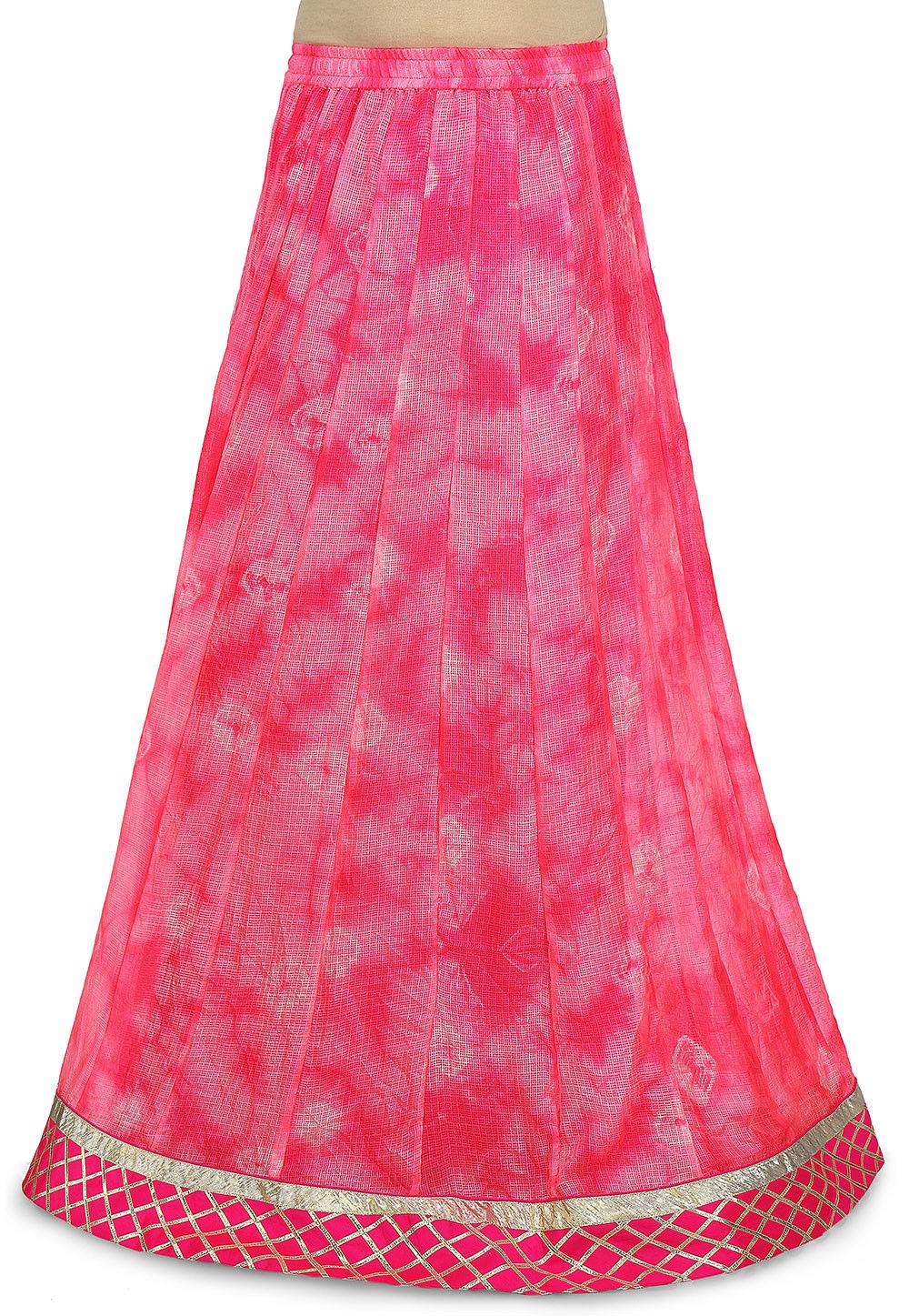 Pure Kota Silk Skirt in Fuchsia