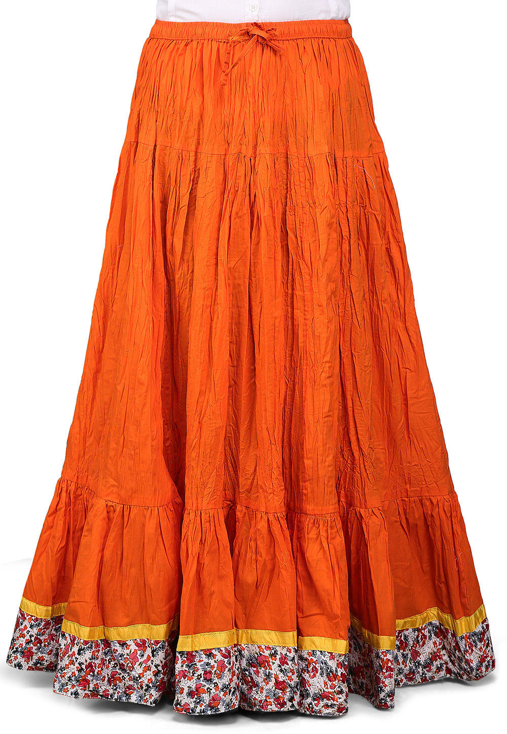 Contrast Patch Border Crushed Cotton Skirt in Orange