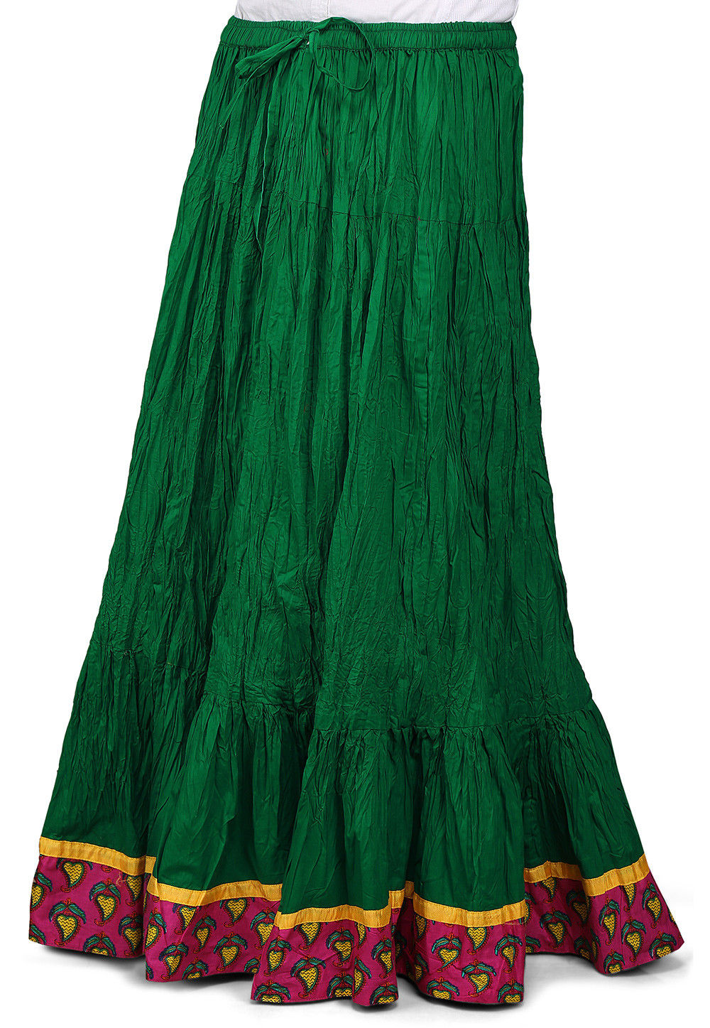 Contrast Patch Border Crushed Cotton Skirt in Green