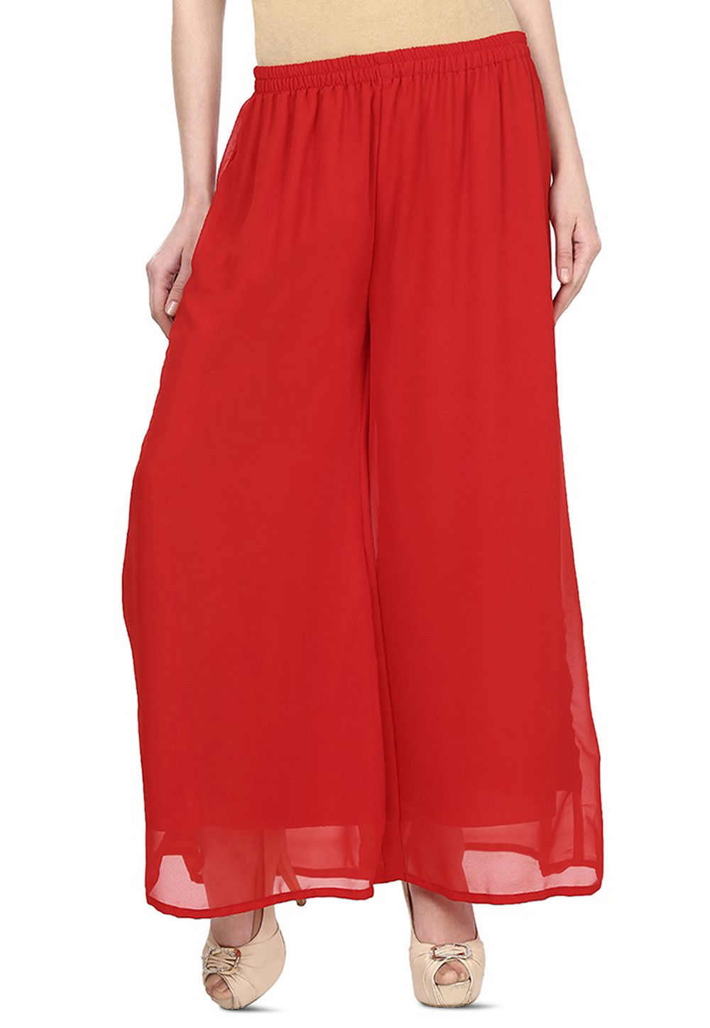 Plain Georgette Palazzo in Red