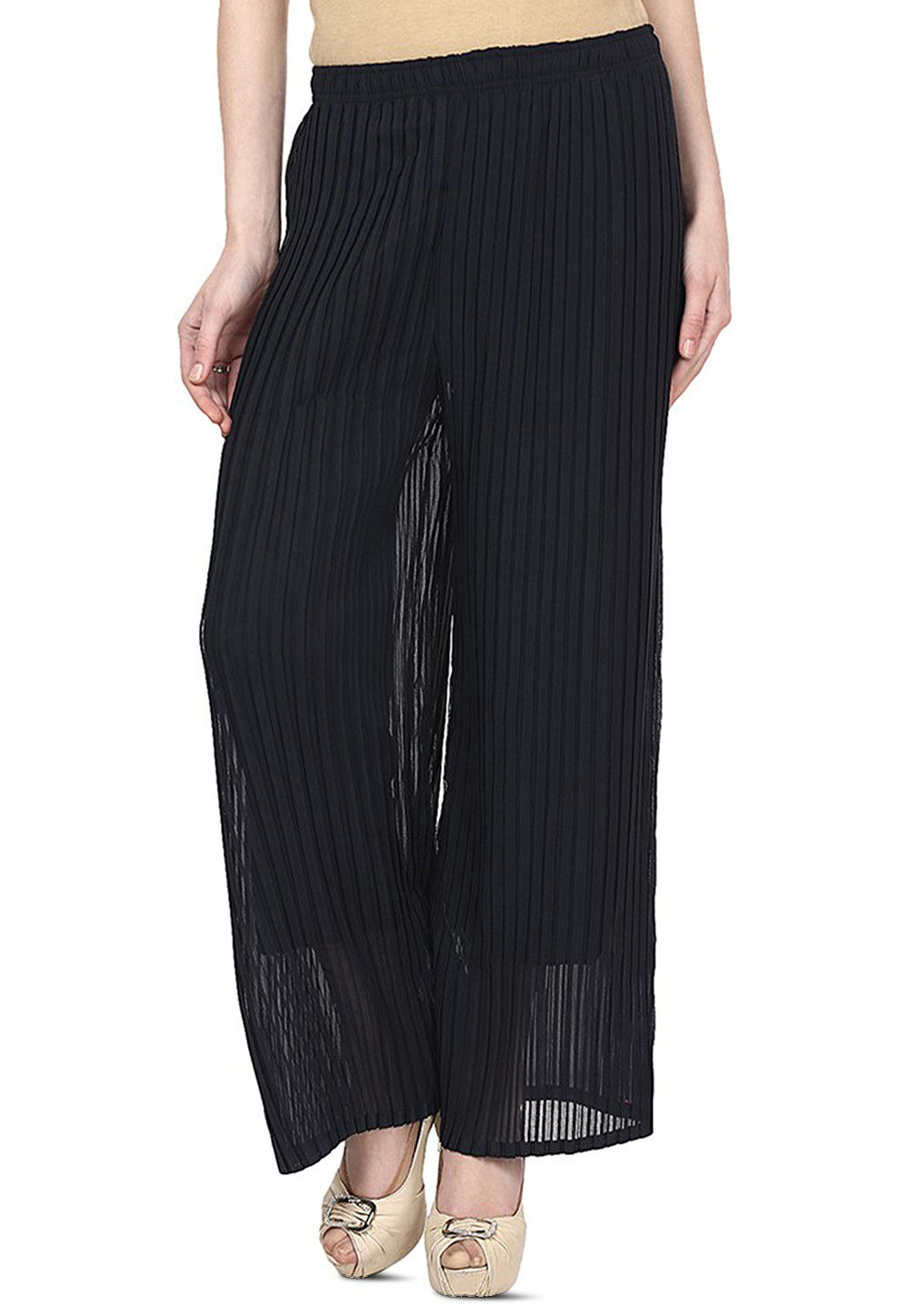 Pleated Georgette Palazzo in Charcoal Black