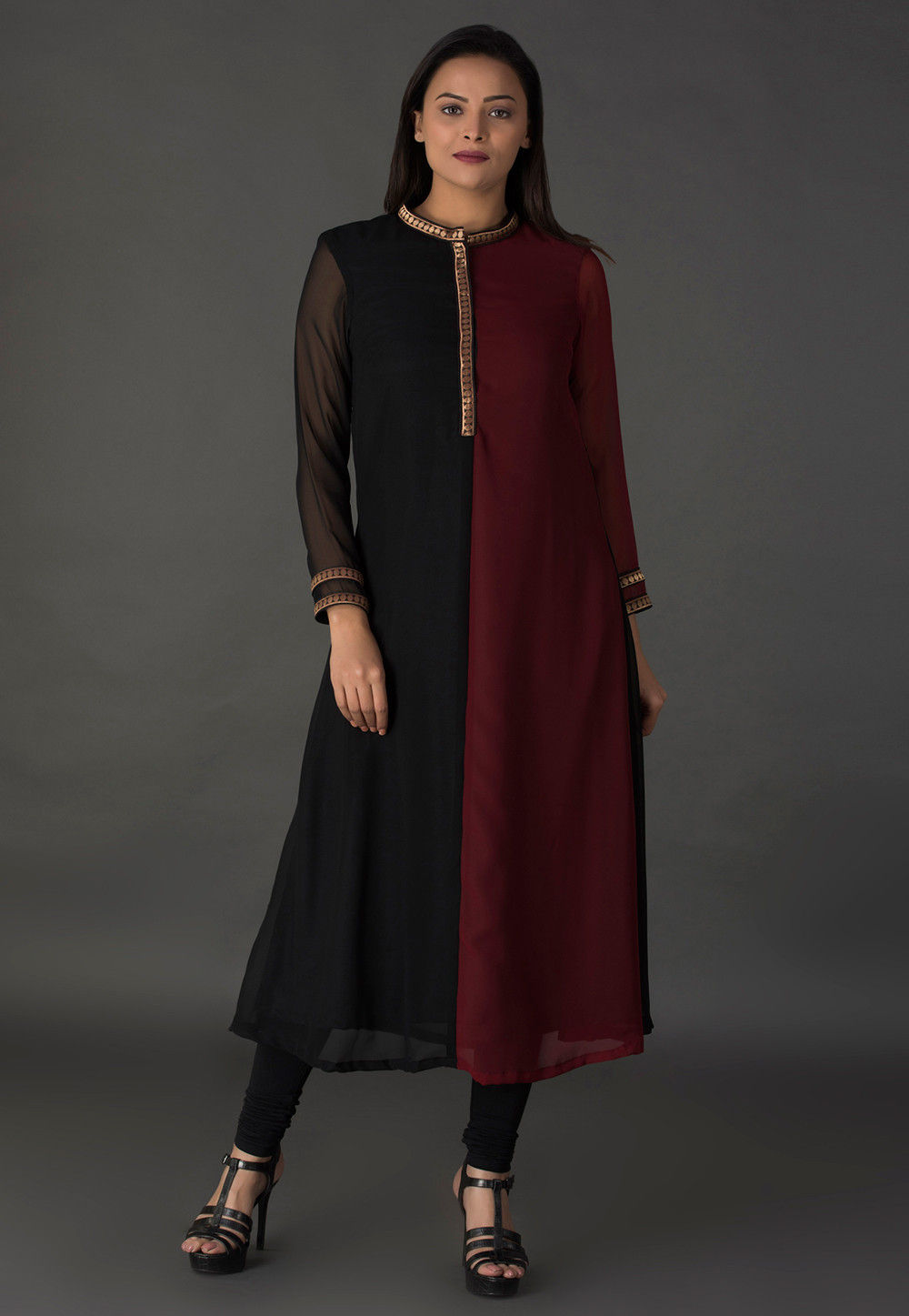 Color Blocked Georgette Kurta in Black and Maroon