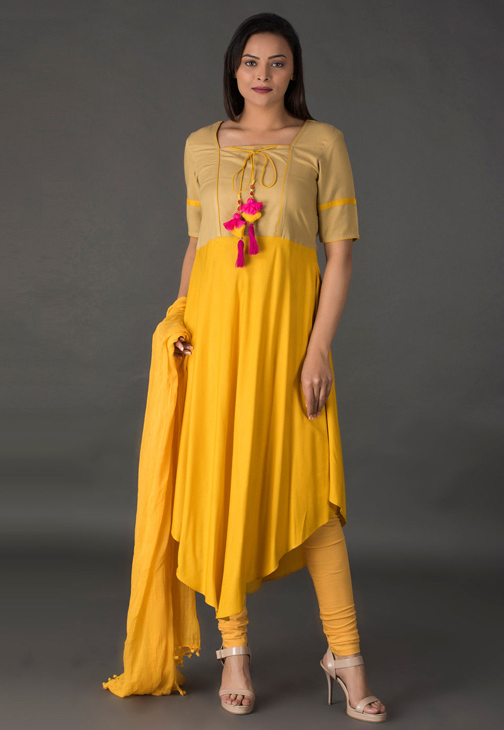 Color Blocked Rayon Asymmetric Suit in Mustard and Beige