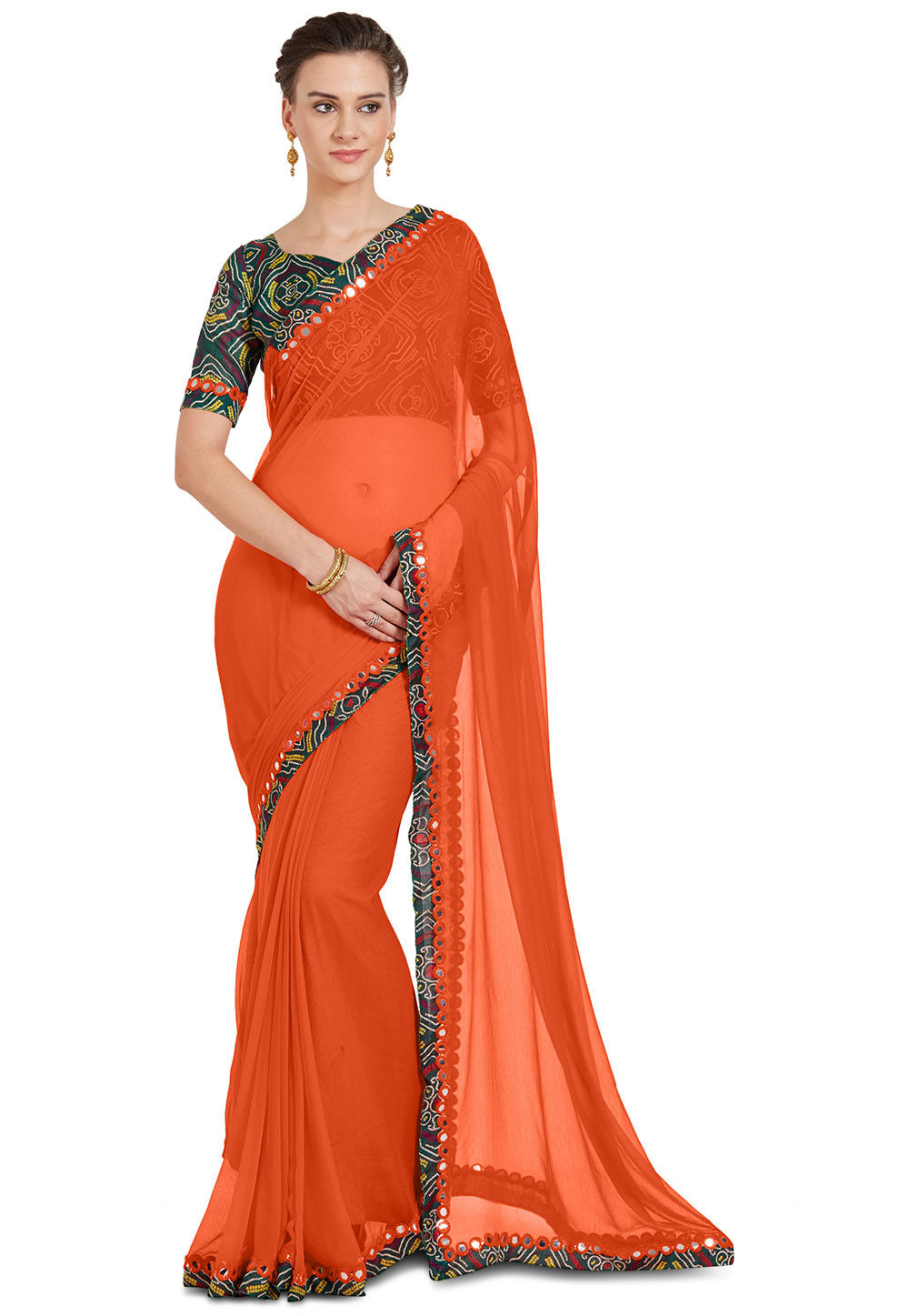 d2ece55496979d Utsav Fashion · Saree; Contrast Border Chiffon Saree in Orange. Zoom