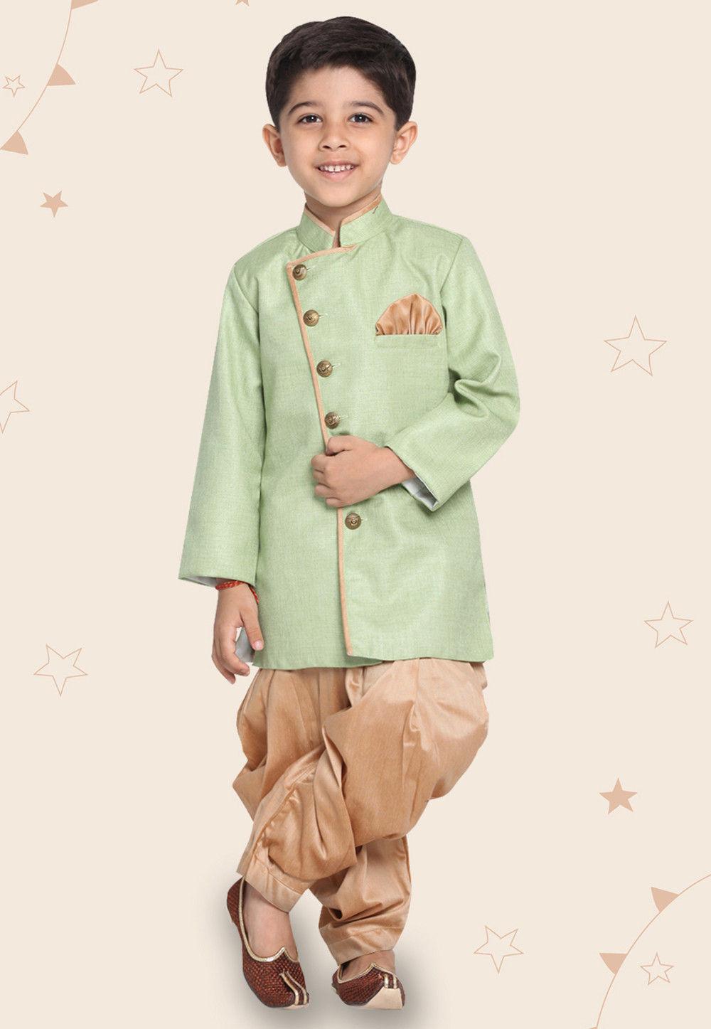 Contrast Trim Cotton Silk Dhoti Sherwani in Pastel Green Utsav Fashion