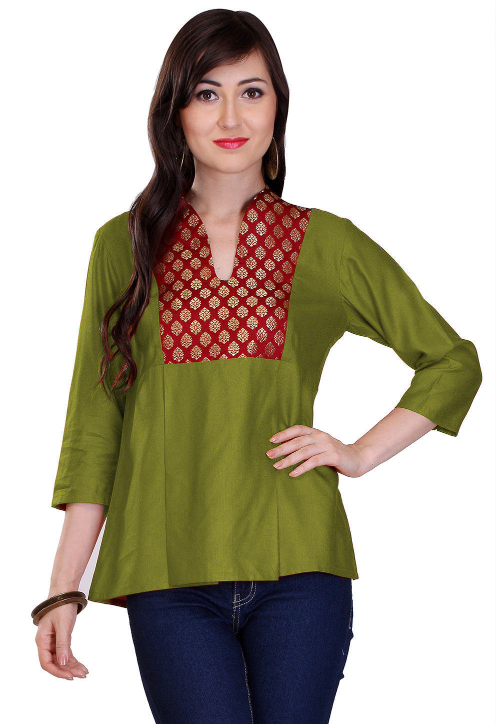 9bee7ed490951a Contrast Yoke Cotton Silk Top in Olive Green : TJW721