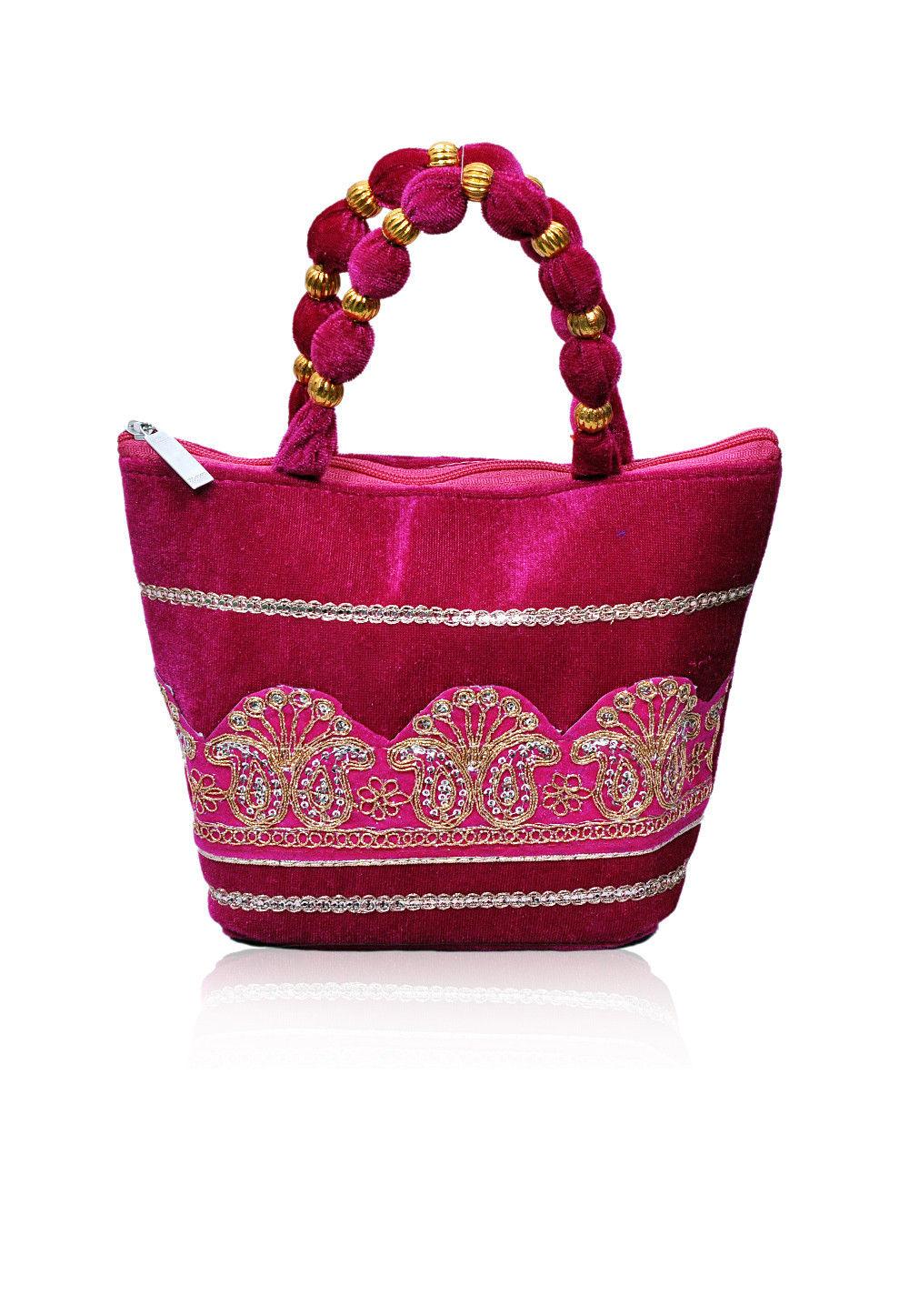 Embroidered Velvet Hand Bag in Magenta