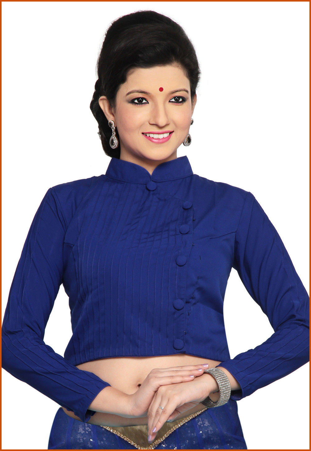 Plain Cotton Blouse in Royal Blue