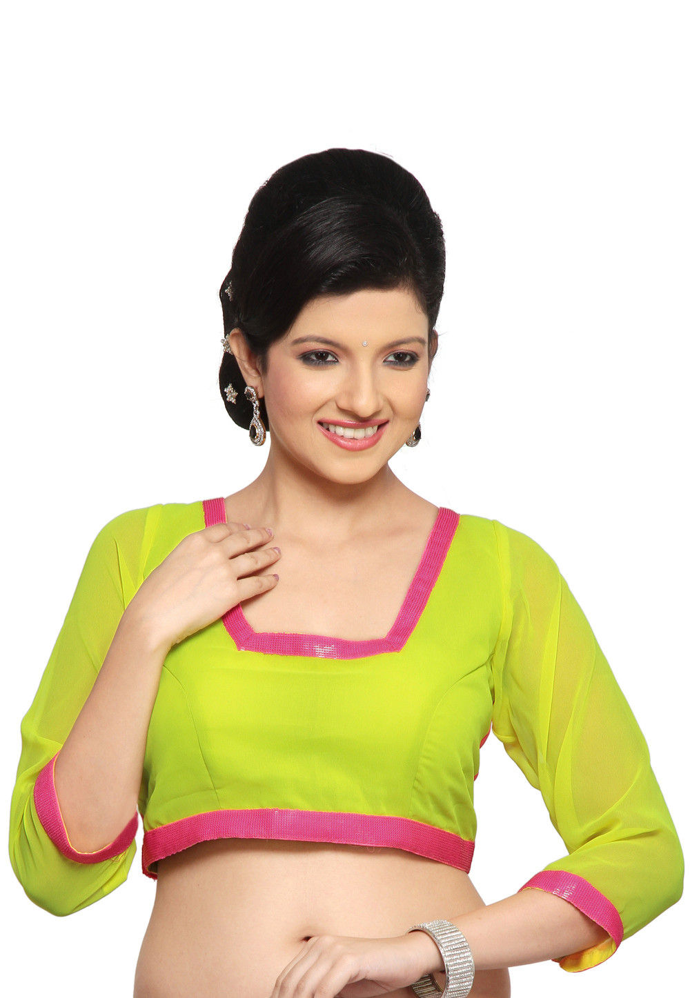 Georgette Blouse in Neon Green and Neon pink