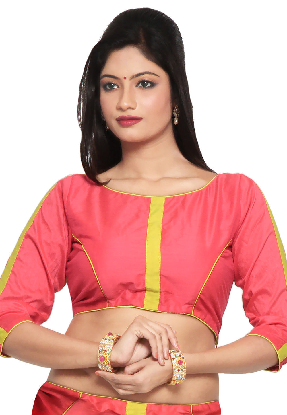Chanderi Cotton Blouse in Coral