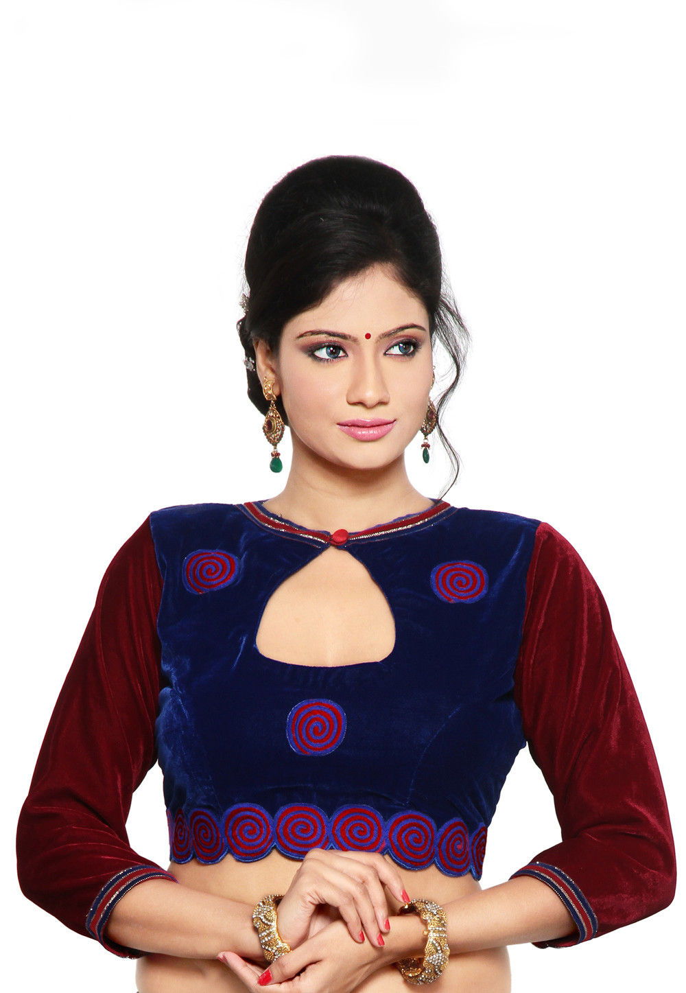 Embroidered Velvet Blouse in Maroon and Navy Blue