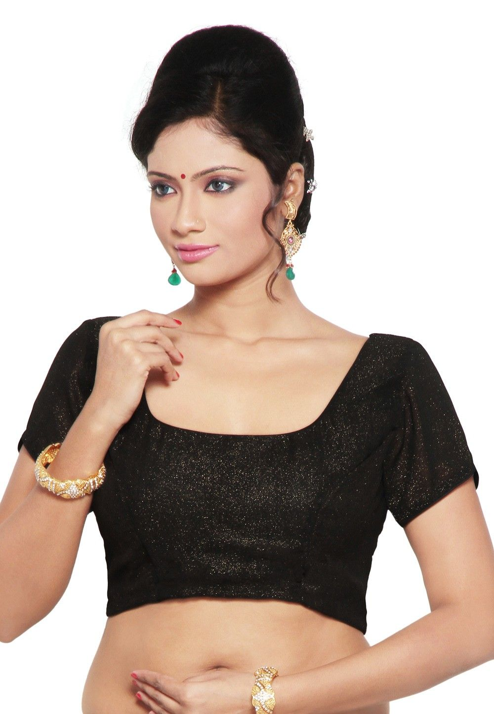 Shimmer Georgette Blouse in Black
