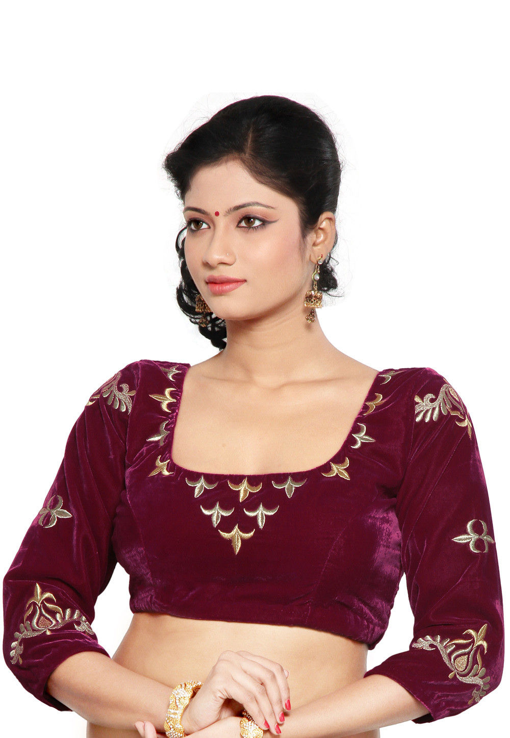 Embroidered Velvet Blouse in Magenta