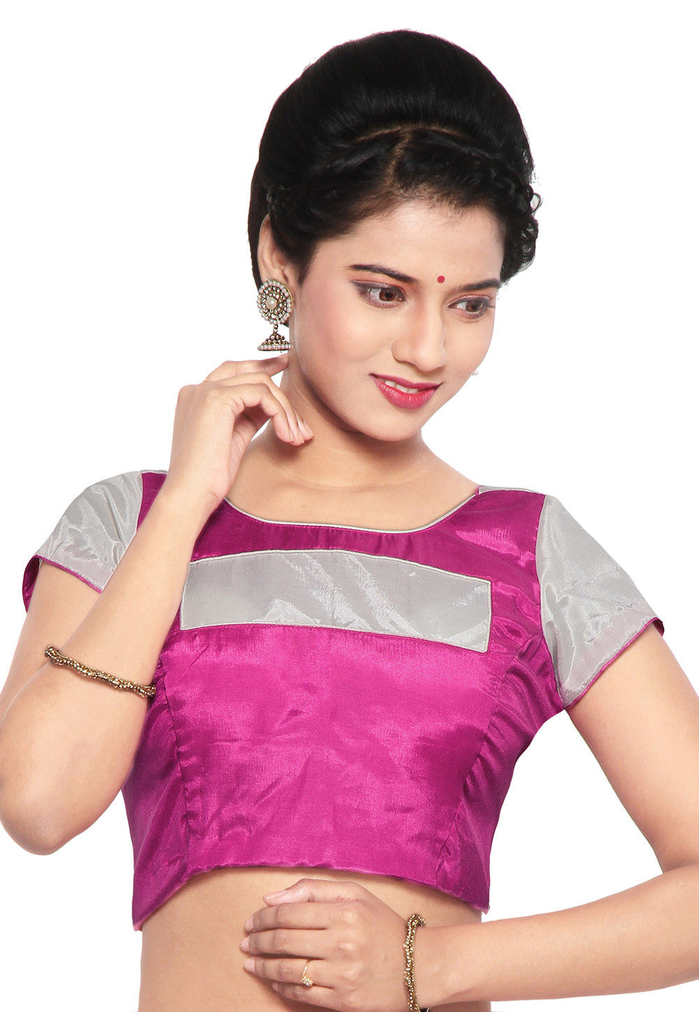 Shantoon Blouse in White and Fuchsia