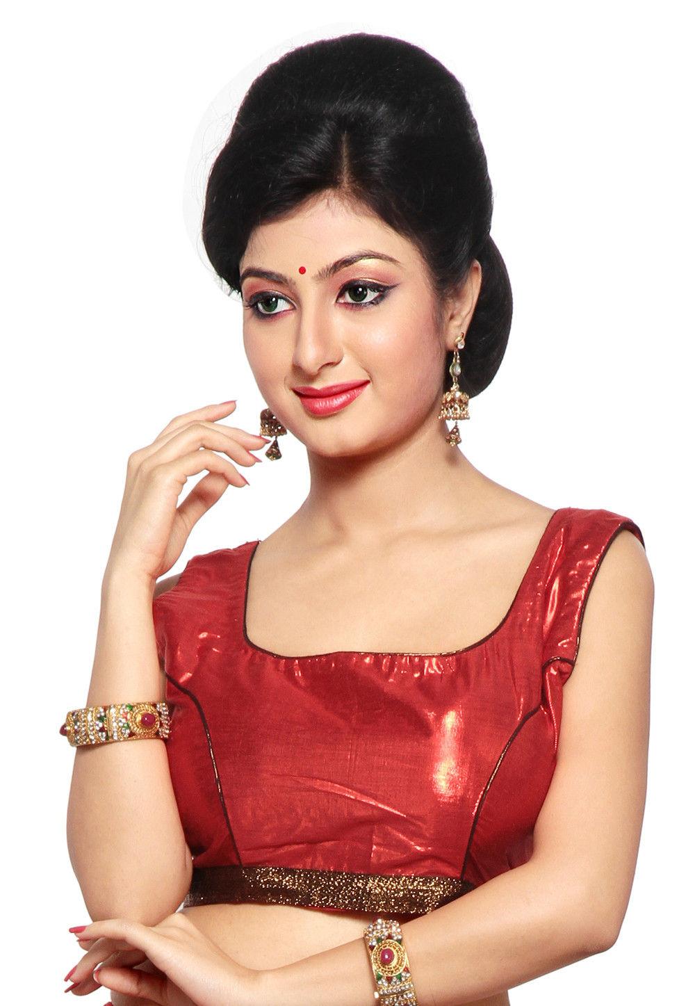 Art Silk Shimmer Blouse in Red