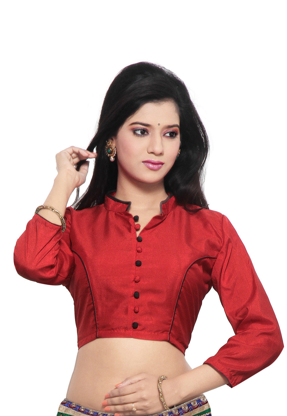 Art Raw Silk Blouse in Red