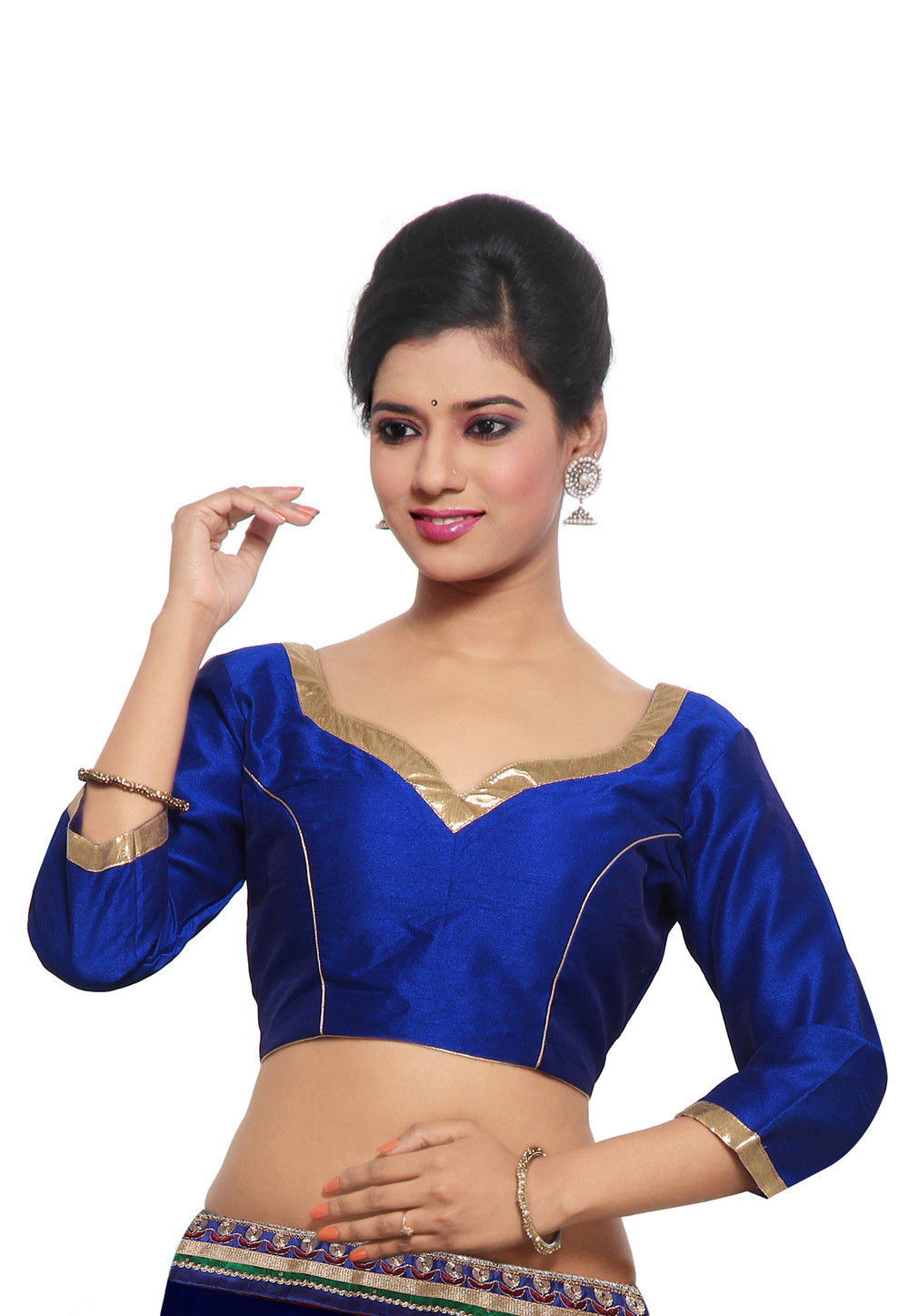 Dupion Silk Blouse in Royal Blue