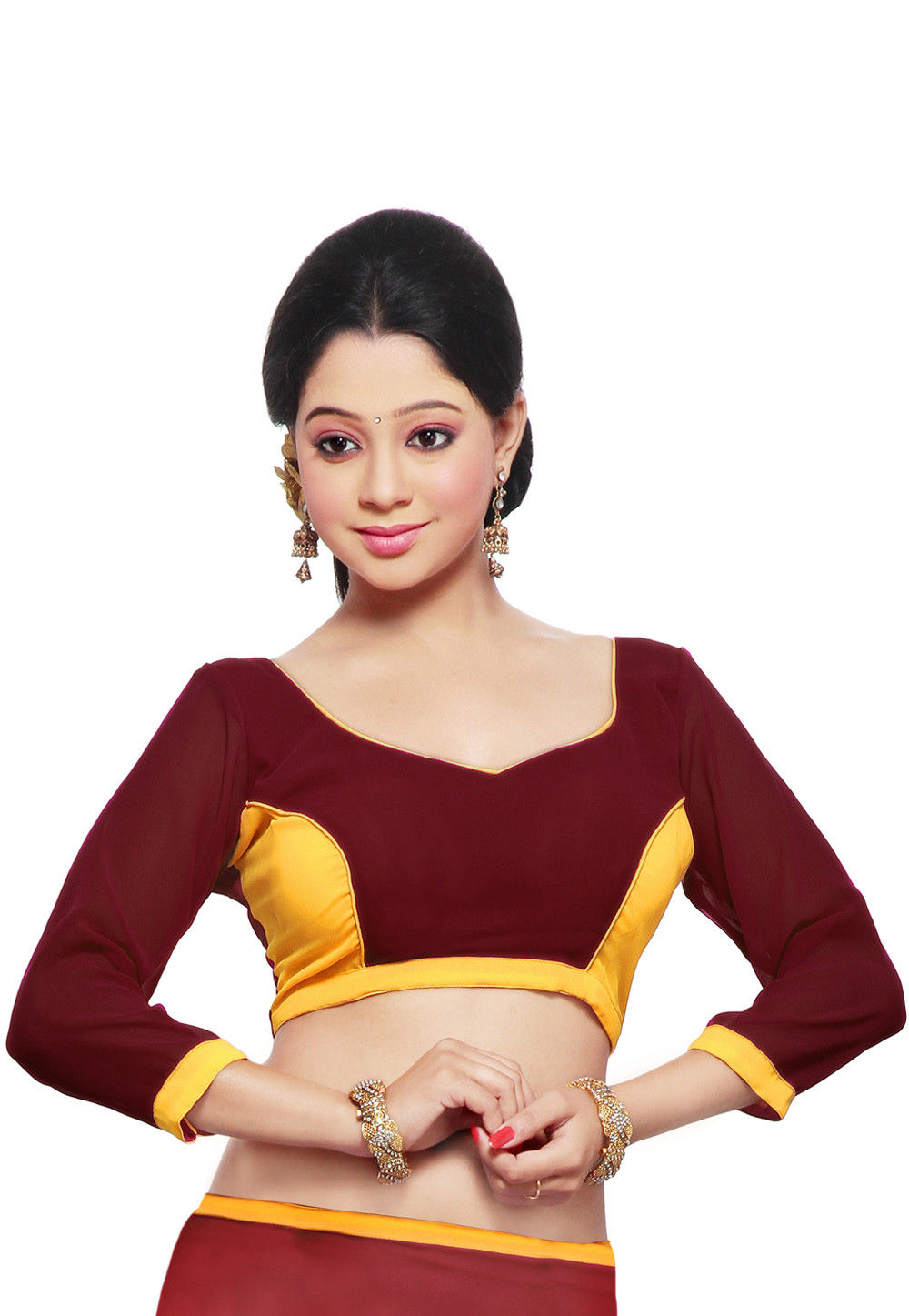 Georgette Blouse in Maroon and Yellow