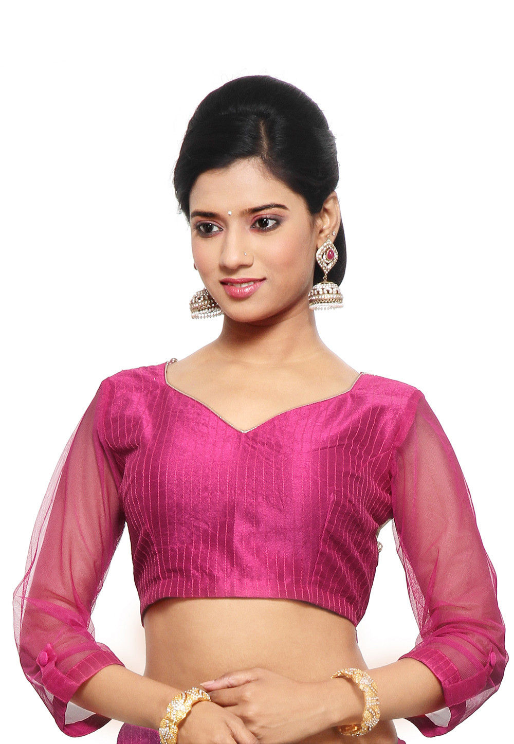 Dupion Silk and Net Blouse In Fuchsia