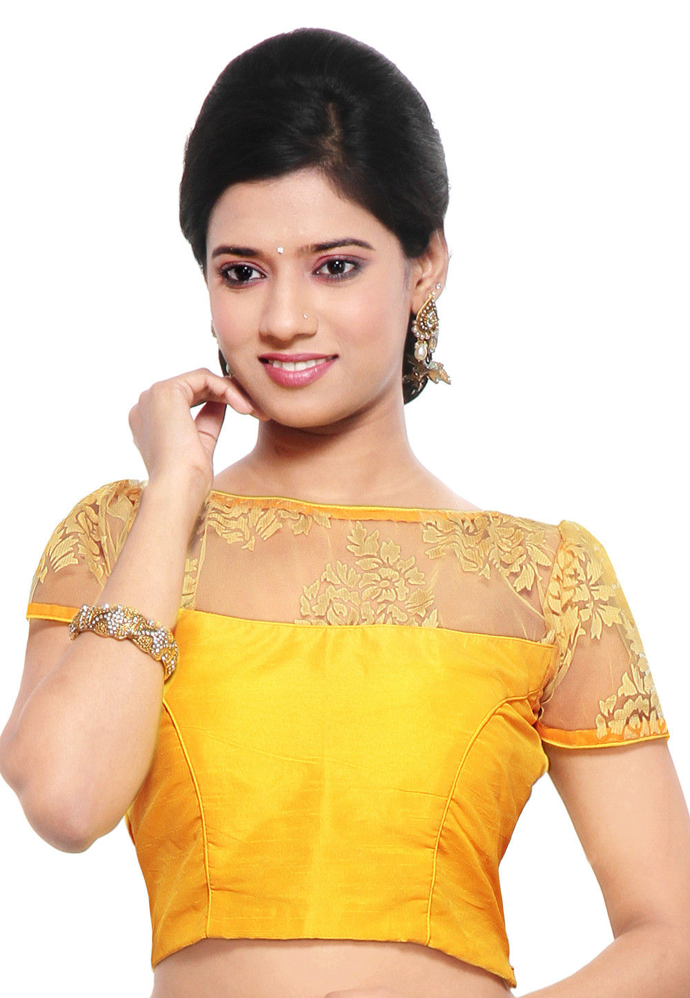 Dupion and Net Brasso Blouse in Yellow