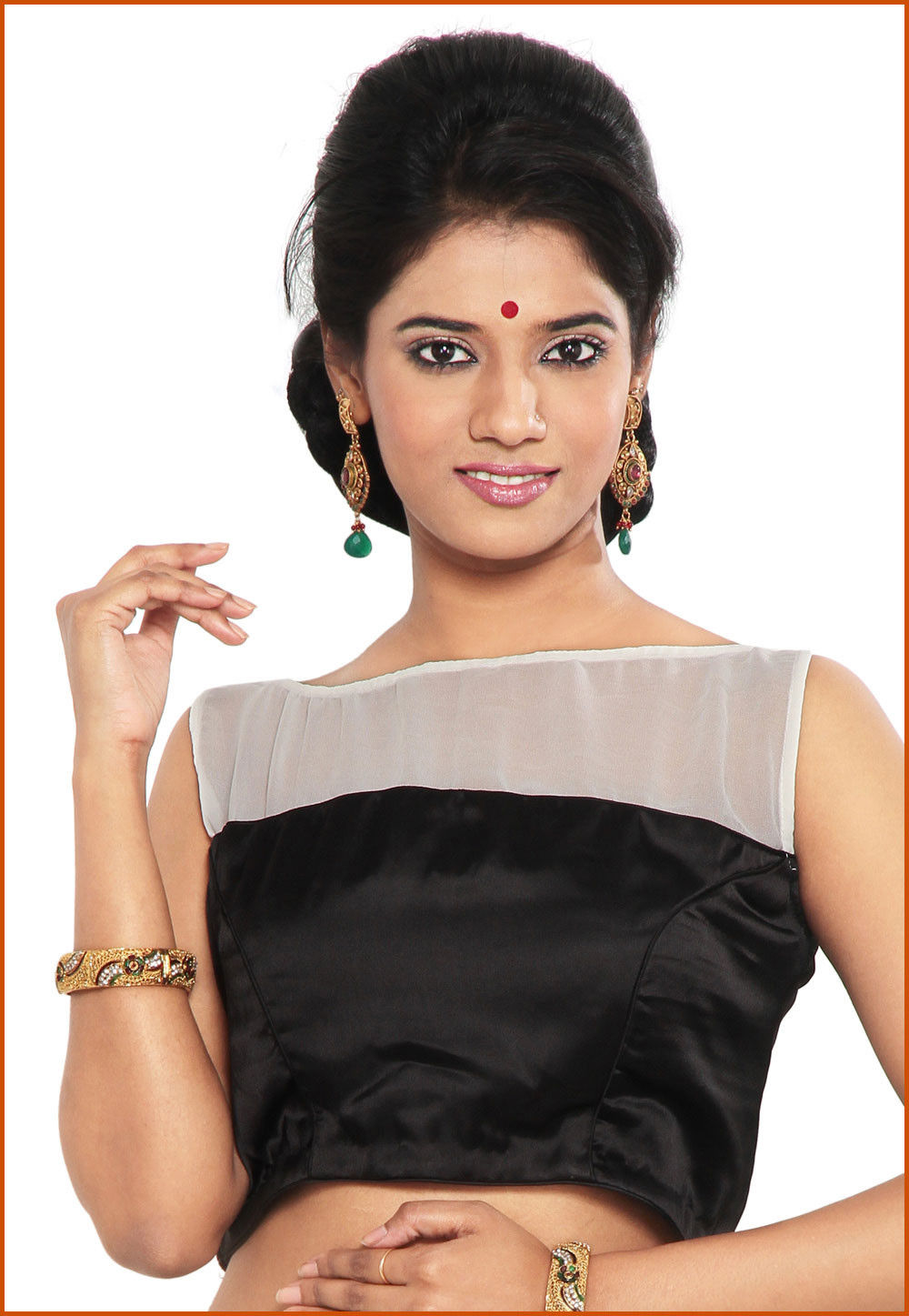 Satin and Faux Georgette in Blouse  Black and Off White