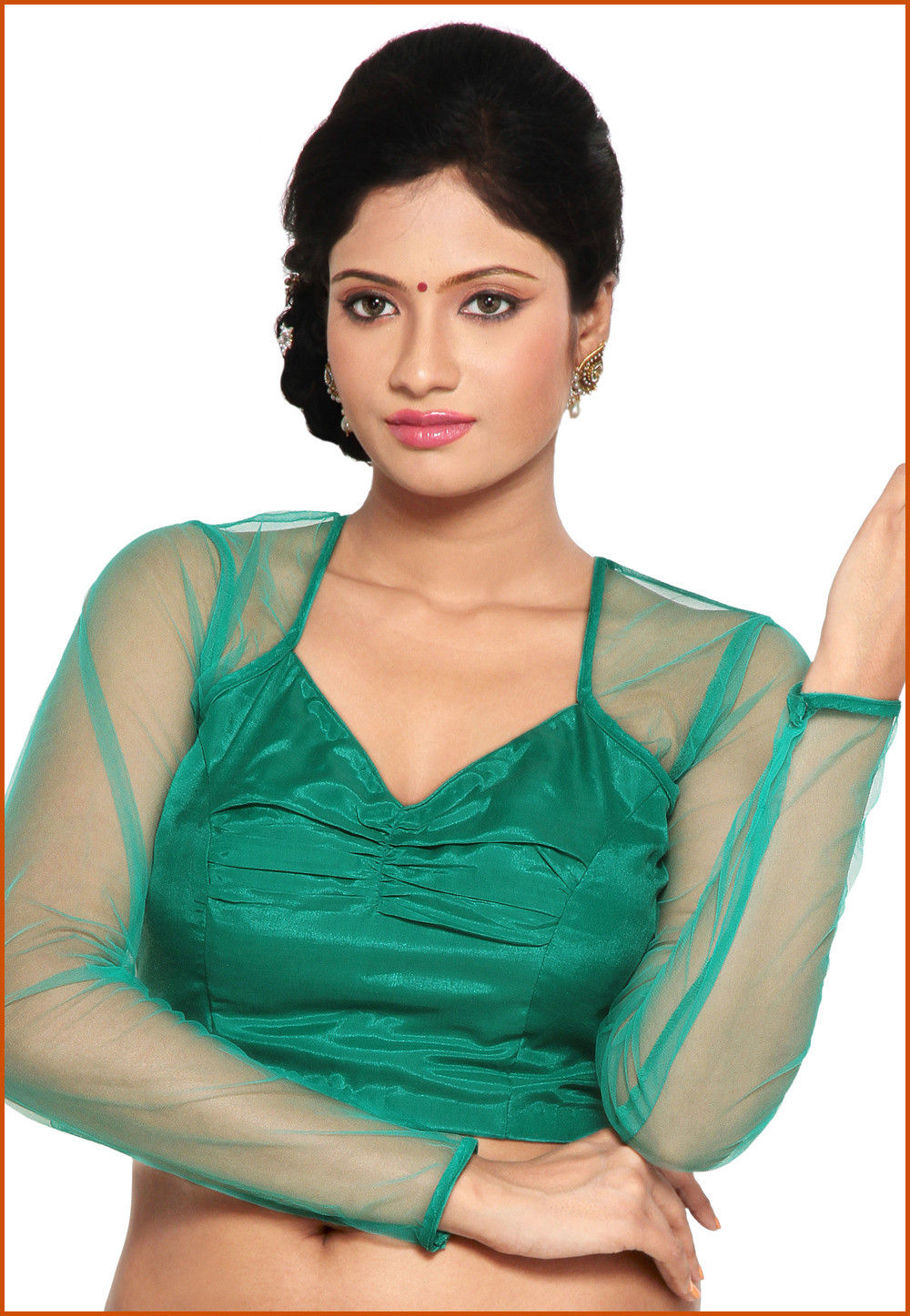 Shantoon and Net Blouse in Green