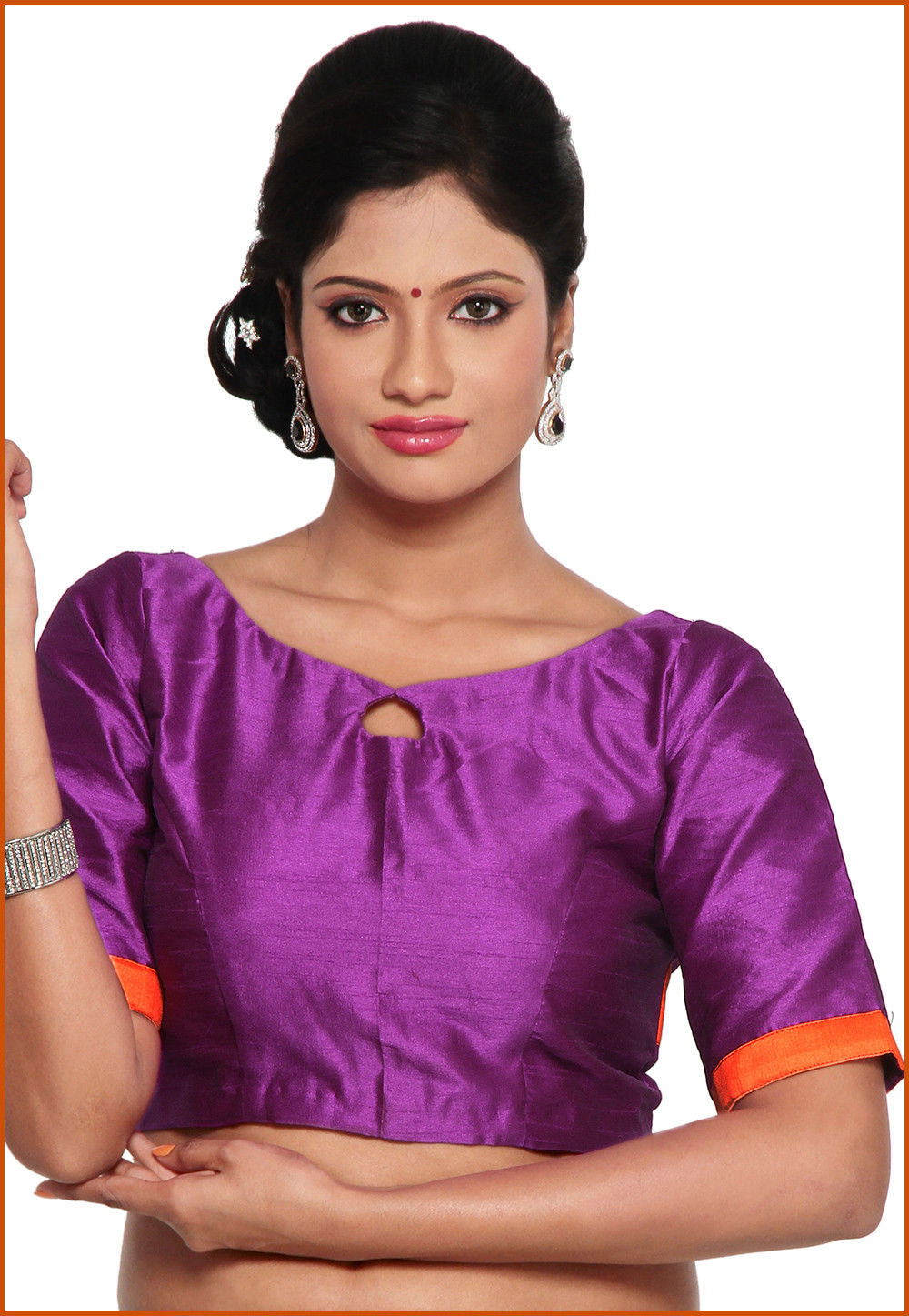 Dupion Silk Blouse in Purple