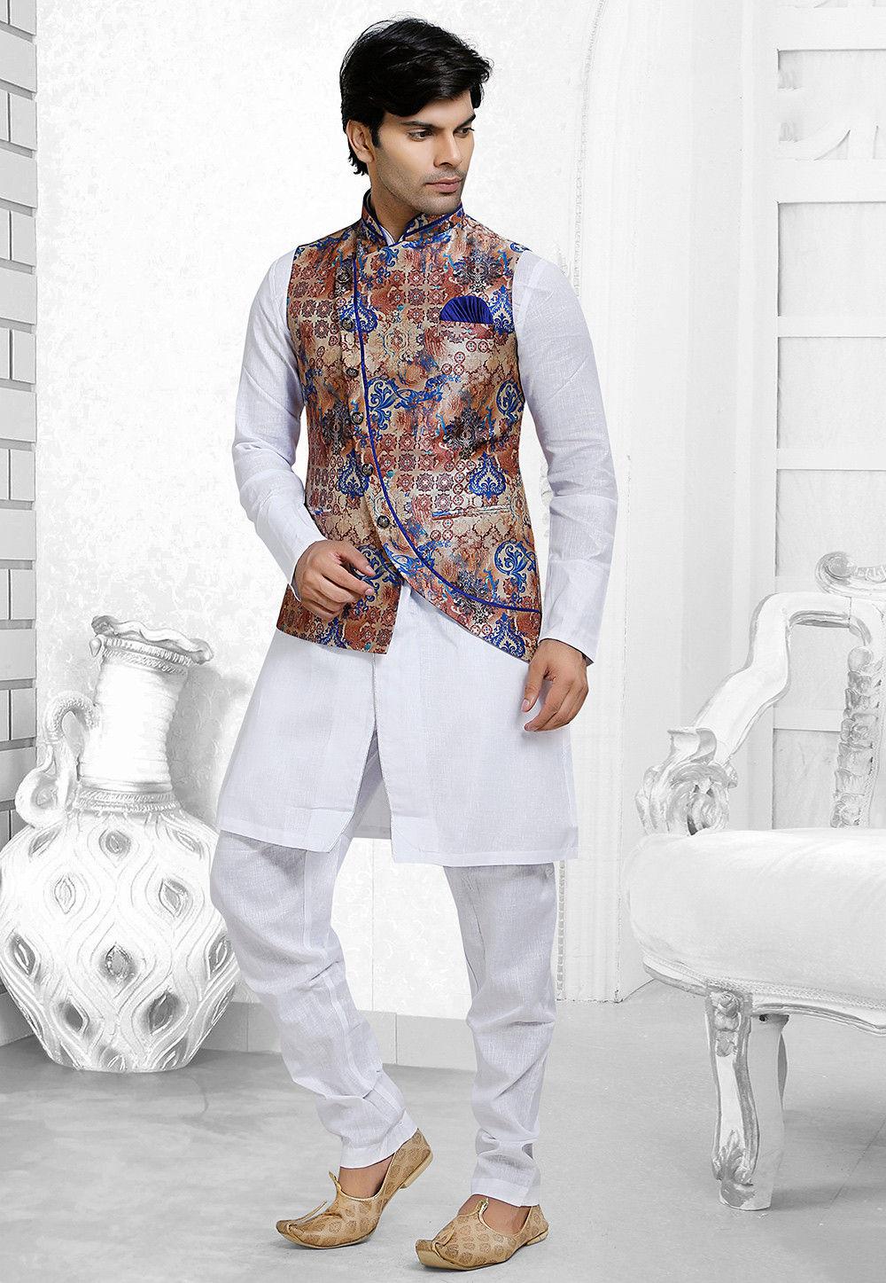 Digital Printed Art Silk Asymmetric Nehru Jacket in Multicolor