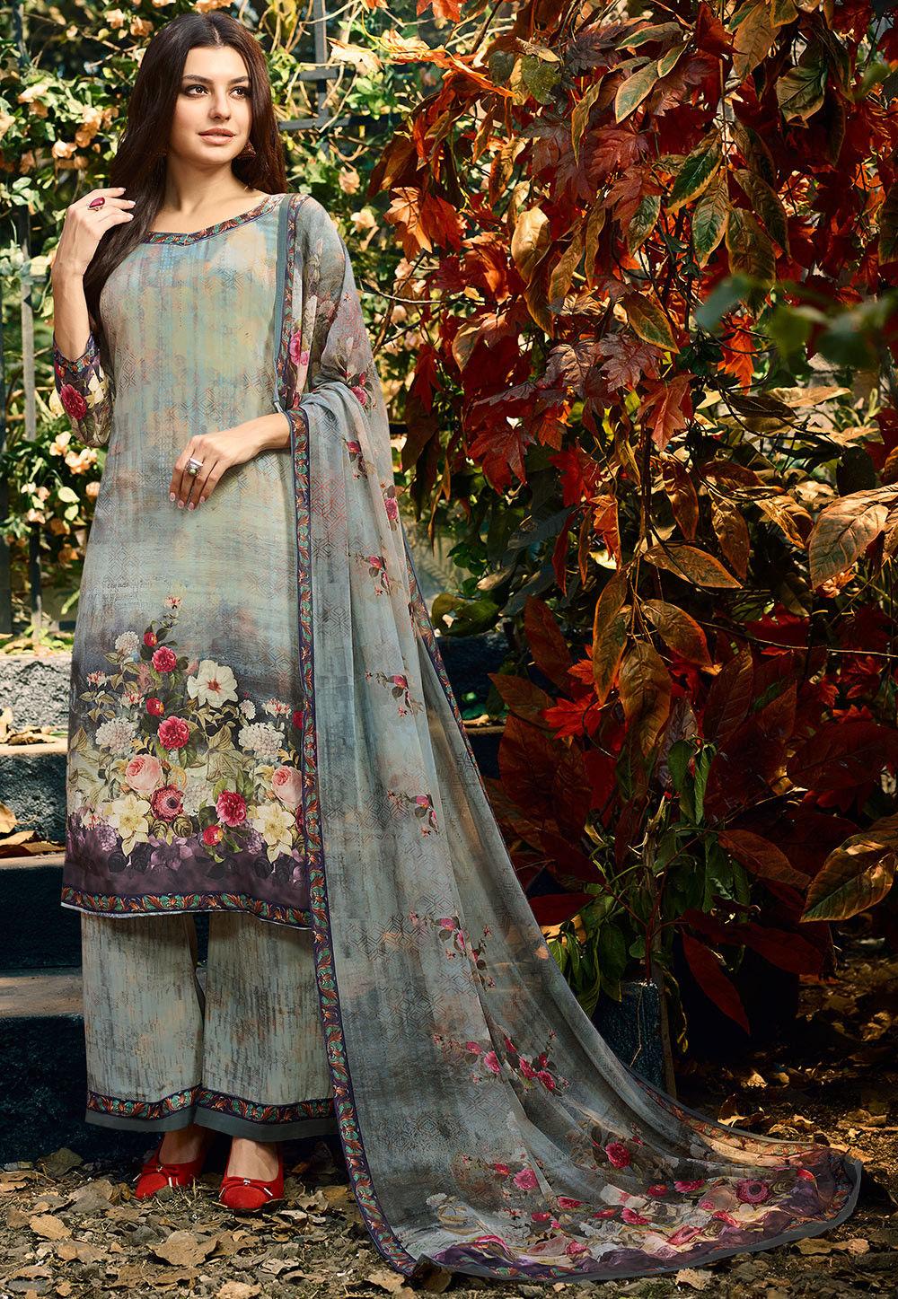 Digital Printed Crepe Pakistani Suit in Light Grey