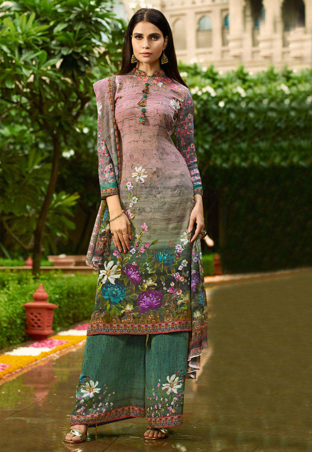Digital Printed Crepe Pakistani Suit in Old Rose and Green